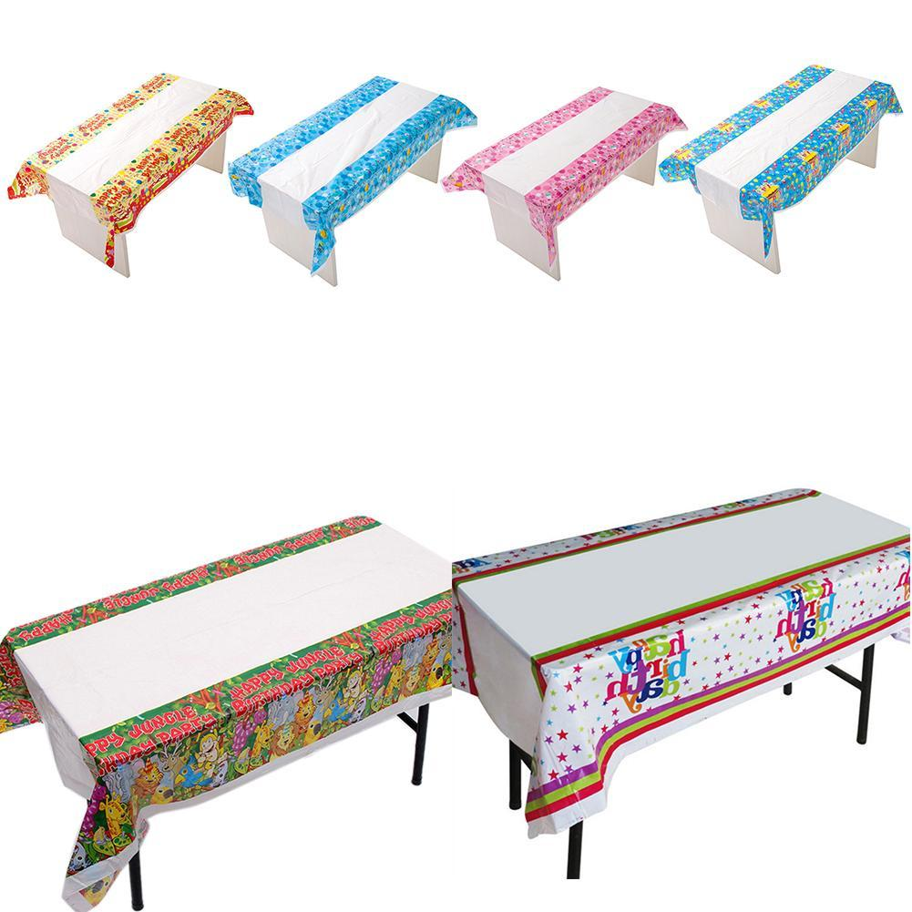 Sıcak Satış Partisi Doğum 180 * 108cm Tablecloth Tek Doğum Tablecloth Karikatür Desen Parti Bar Masa örtüsü