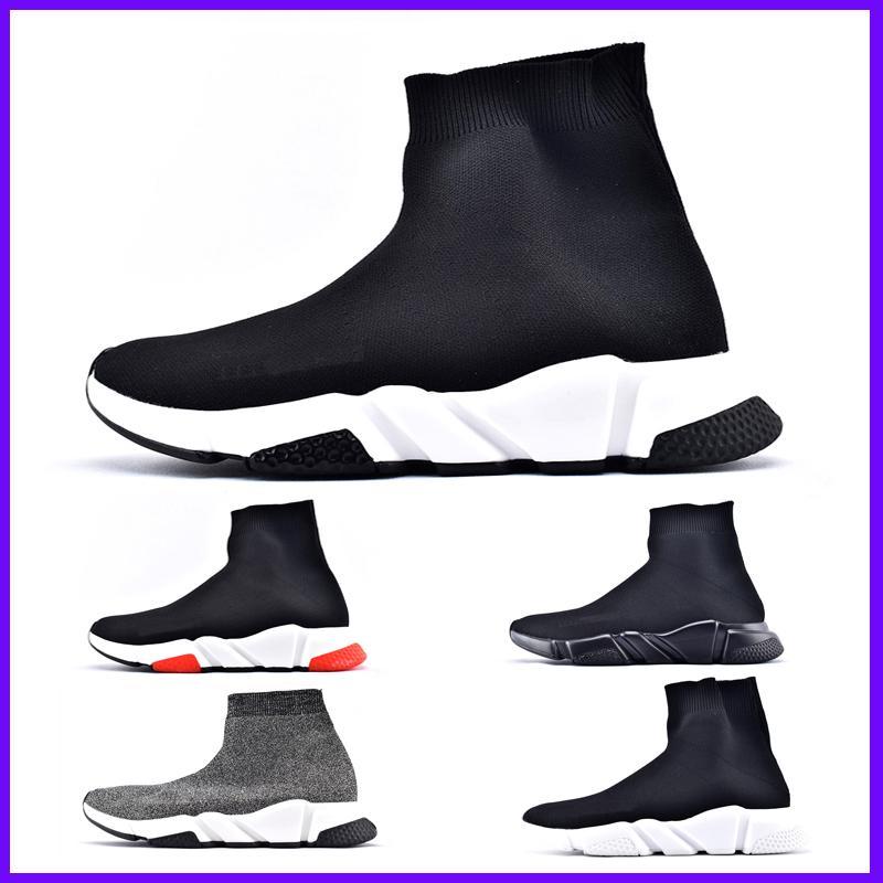 Marca de fábrica superior de lujo de las zapatillas de deporte de las mujeres de los hombres de París Trainer velocidad Negro Rojo Triple Moda calcetín zapatos de los cargadores barato en línea