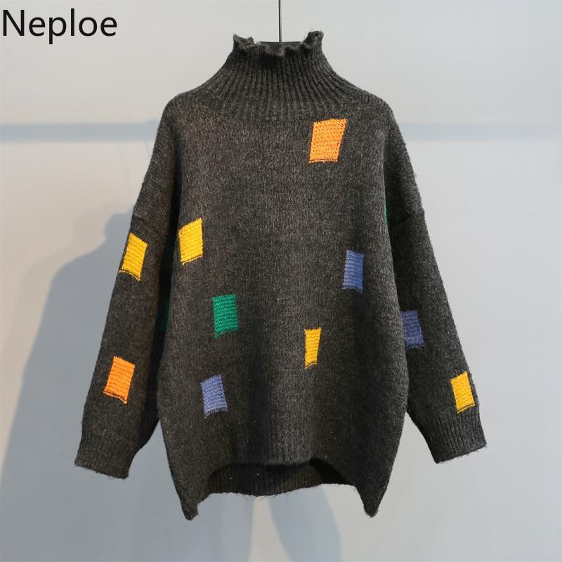 Neploe cuello alto suéter suéter de invierno de las mujeres de gran tamaño Otoño Puentes y jalar 2019 Nueva Contraste de color Espesar de punto Tops 56236