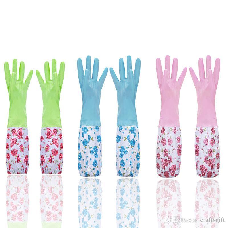 1Pair Waterproof Rubber Cleaning Gloves Housework Dishwashing Kitchen Supply HOT