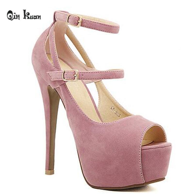 Xingdeng المرأة اللمحة تو عالية الكعب مضخات أحذية السيدات ملهى ليلي فلوك منصة الخنجر عبر حزام الأحذية حجم 34-39