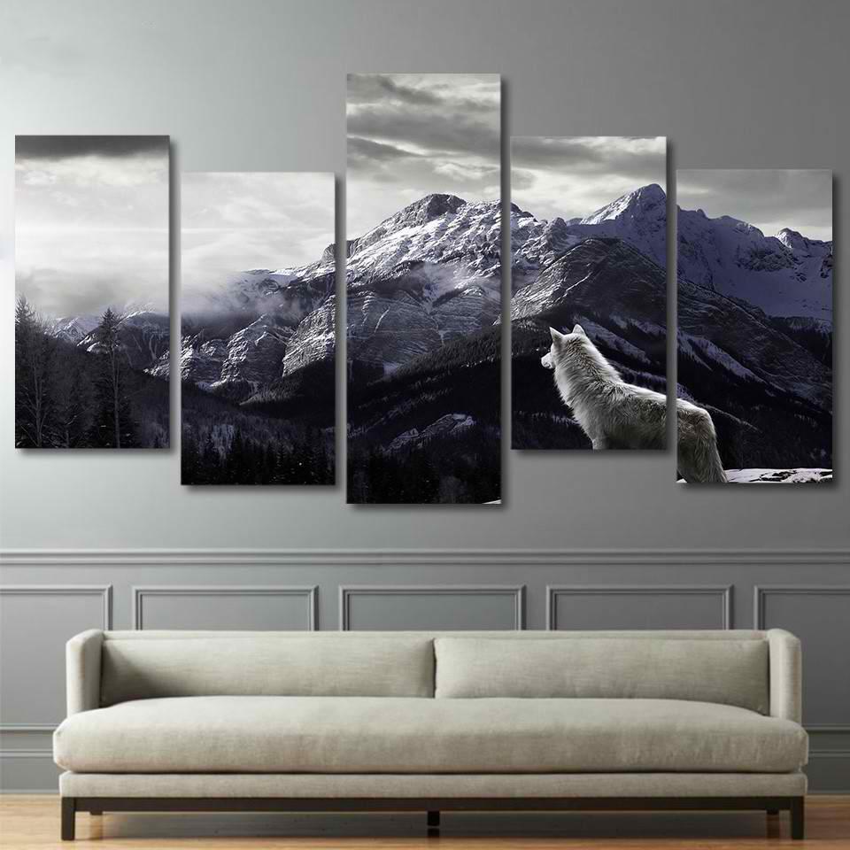 HD Baskılar Tuval Wall Art Salon Ev Dekor Resimleri 5 Parça Kar Dağ Plato Kurt Resim Sergisi Hayvan Posterler Çerçeve