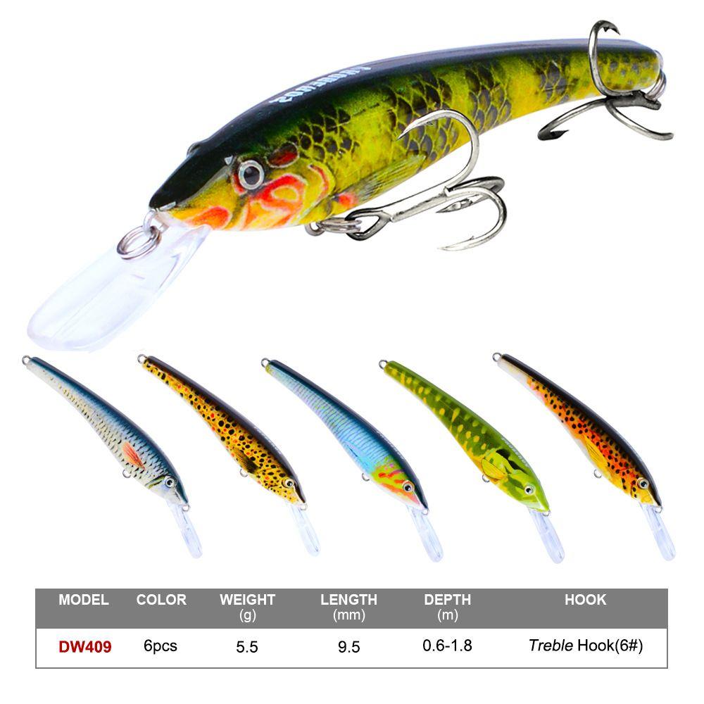 New 24Pcs/Set Mix Styles 4# 6# Hook Minnow Fishing Lure Plastic Bassbait Hooks Artificial Bass Crankbait Tackle