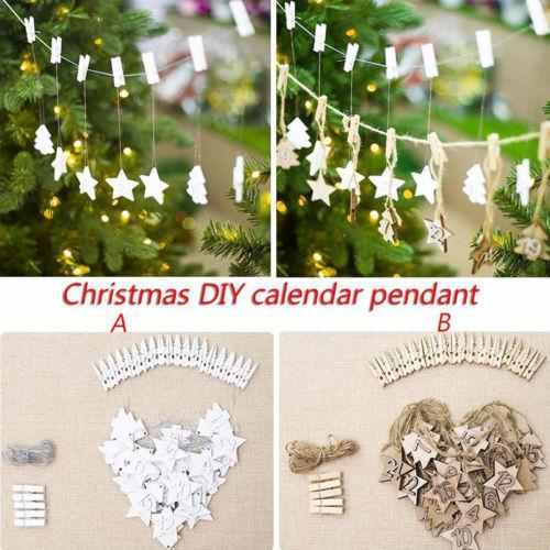Calendário de Natal Pingente de madeira enfeites Xmas Cartão de suspensão da decoração presente EUA