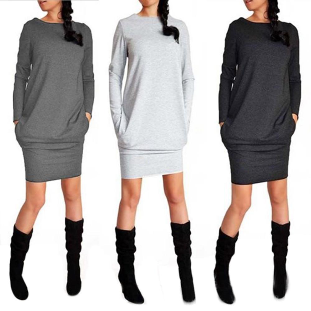 arzu 35 # Dropship 2018 Yeni Geliş Moda Promosyon Kadın Katı Yeni Trendy Casual Sonbahar Kış Paketi Kalça Elbise