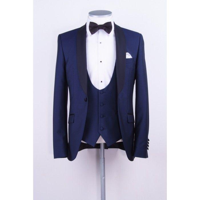 New Arrival Groomsmen Shawl Lapel Groom 턱시도 해군 블루 남성 정장 웨딩 / 댄스 파티 / 디너 Best Man Blazer (자켓 + 바지 + 조끼 + 넥타이) M1004
