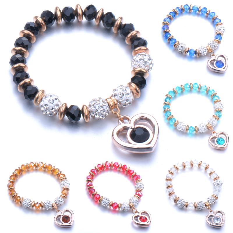 Vidro colorido Bead Bracelet orgulhoso Pedra Natural Strand Casal homens e mulheres pulseira amor pingente Handmade Charme BraceletCouple