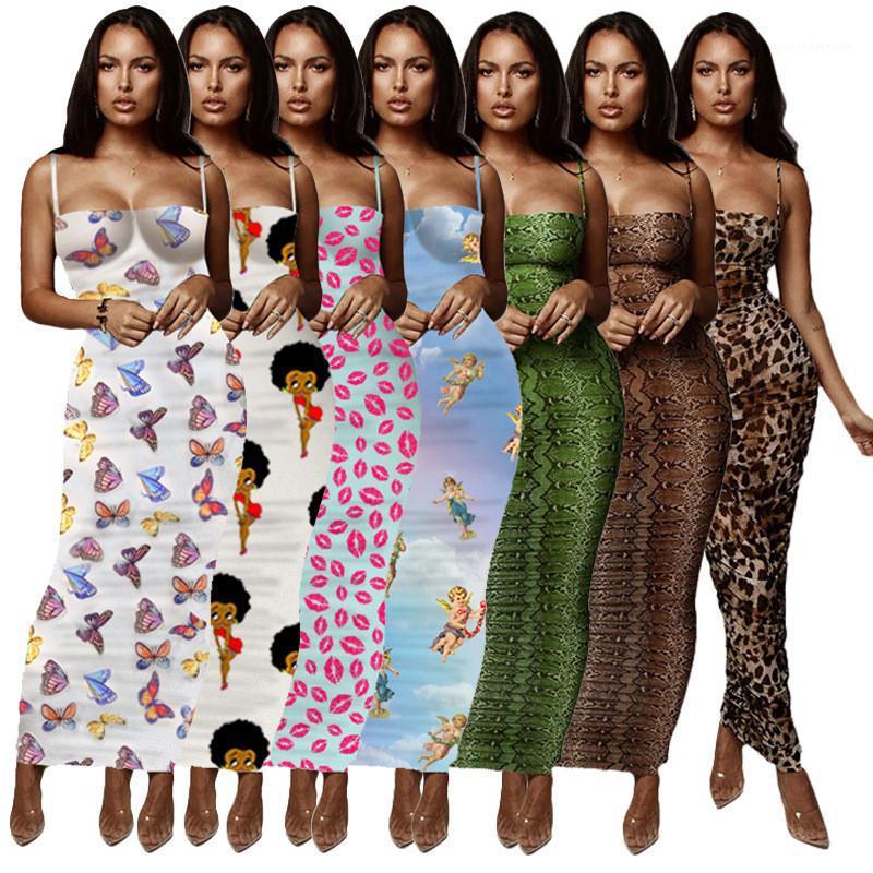 Florais Womens verão vestido do leopardo Designer Bodycon Vestidos magro magro Spaghetti Strap Envolvido Peito Verão Lond