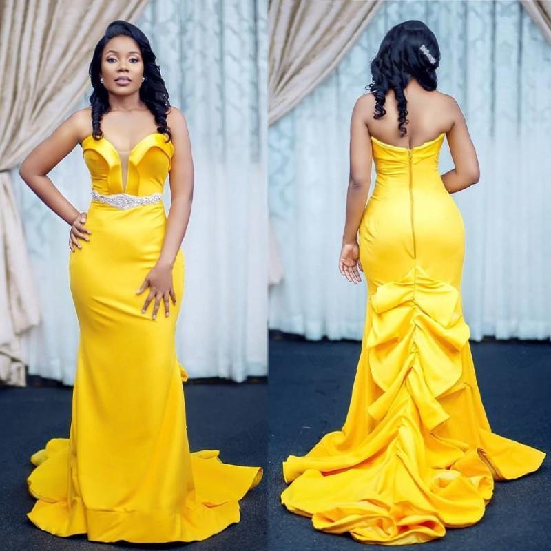 Wear Elegant Mermaid amarelo Prom vestidos longos 2020 Tiered Ruffles mangas Sexy vestidos de noite formal do partido