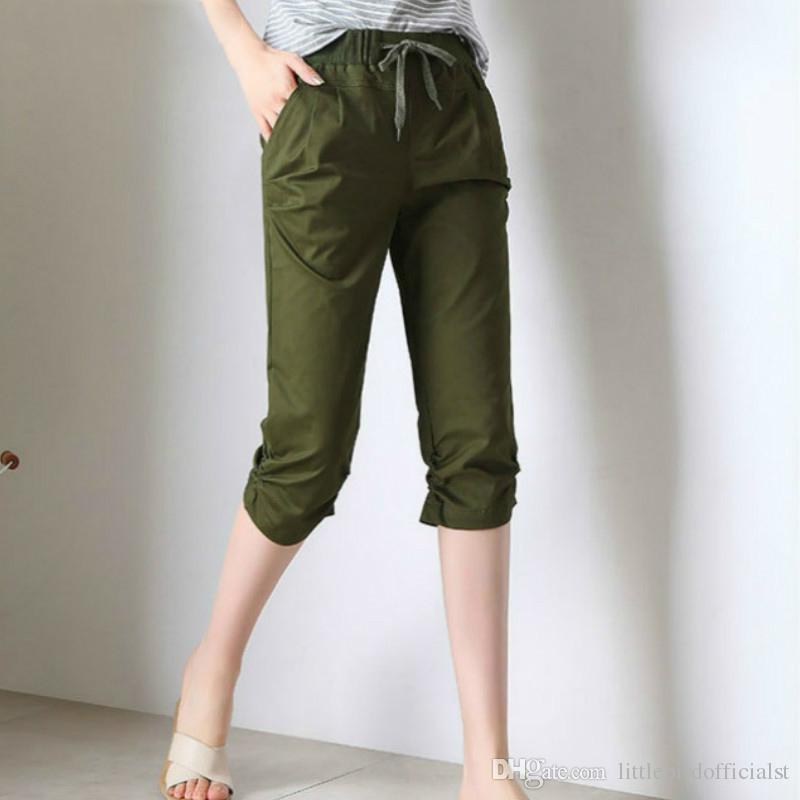 streetwear Pantalons élastiques d'été pour femmes, taille haute, Capris pour femmes, pantalons sarouel, pantalons pour femmes, demi-longueur