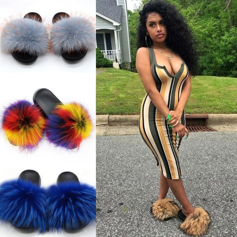 Les femmes Furry Chaussons Sandales fourrure naturelle vraie mode fourrure de raton laveur en peluche Diapositives intérieur Tongs dames Fluffy chaud Chaussures