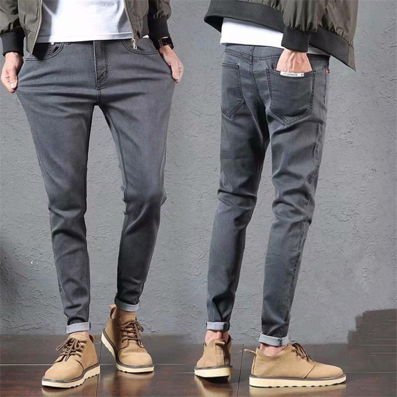 WAGGIE'S WALKER 2020 Bahar Yeni Koreli Katı Renk Slim Fit Casual Günlük Esneklik Tam Boy Streetwear Sweatpants Erkekler Jeans