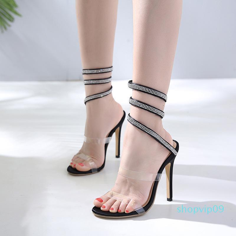 Hot2019 anual del viento Fasciola Grupo Combine Toe Rhinestone desnuda color de la personalidad de zapatos sandalias de belleza banquetes