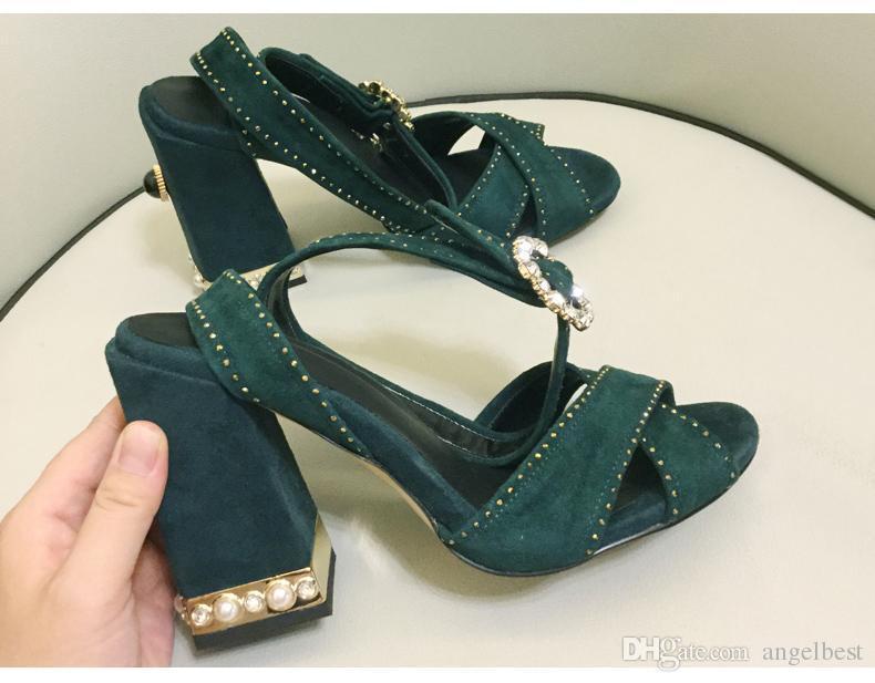 nouvelles perles de mode estivale talon chunky femmes sandales à talons hauts robe sandales croix sangle sandales de fête de mariage chaussures dame rose bleu marine
