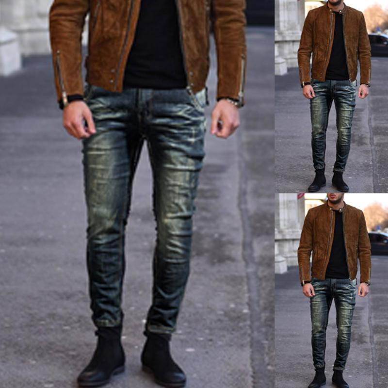 Moda Uomo Skinny Jeans slim Distressed Jeans Denim elastico Biker Hip Hop Stretch Hombre pantaloni sottili S-5XL B