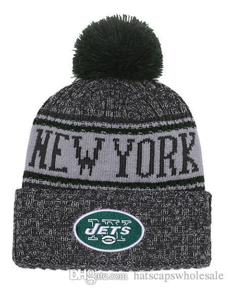 dc402283893 2019 Wholesale New Pom Poms Men Women Winter Hats Sport NY Jets Beanies  Fashion Knitting Hat Brand Thick Female Warm Caps From Hatscapswholesale