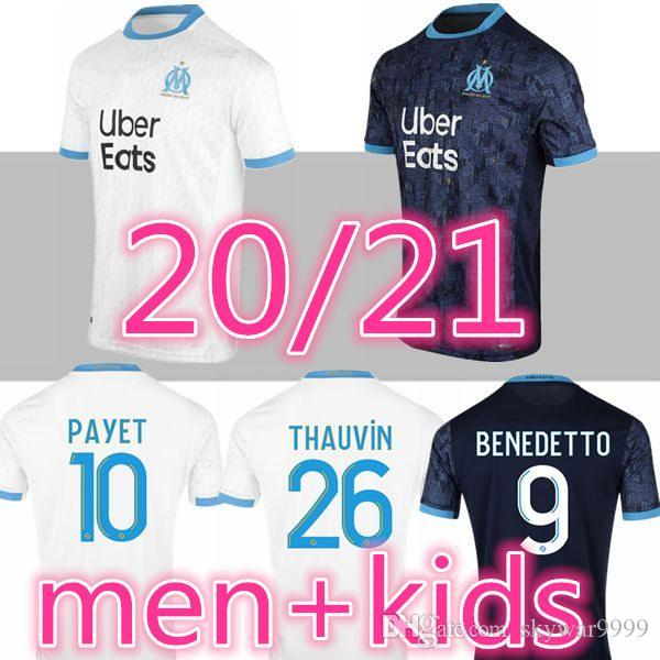 new version 20 21 Olympique De Marseille soccer jersey OM 2020 2021 maillot de foot PAYET THAUVIN Men Kids kit maillots football shirt