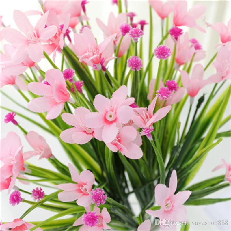 10PCS Artifical Silk Flower orchid Wedding Decoration Single cymbidium Real Touch Flower for Home Party Festival Decorative Gift Wreaths