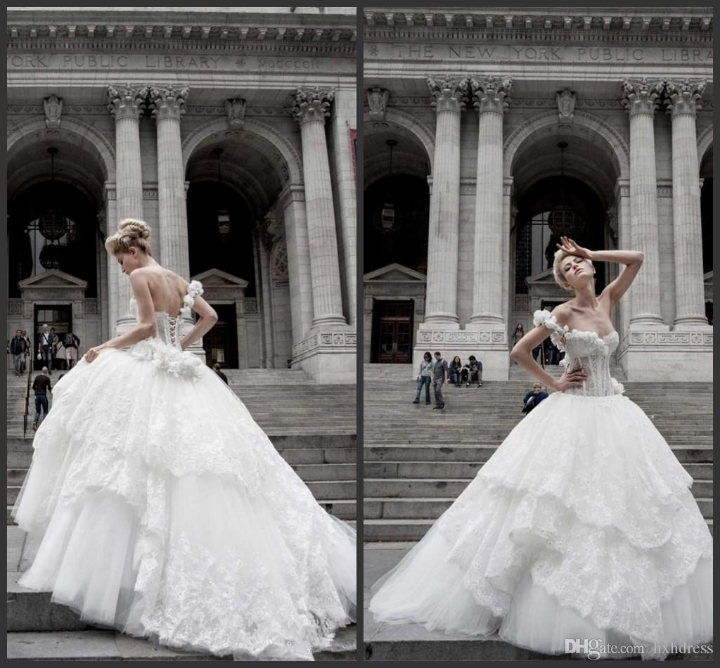 2020 New Pnina Tornai Ball Gown Wedding Dresses Lace Applique One Shoulder Lace-up Back Sweep Train Tulle Tiers Beads Bridal Gown
