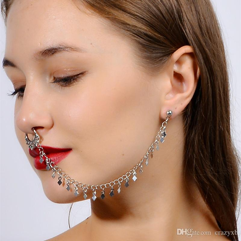 2020 Nose Rings And Studs Fake Septum Piercing Crystal Nose