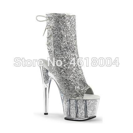 KALMALL Glitter Fétiche Chaussures bling Bottines Nightclub Danseur Plateforme Talons Gladiator lacets super talons Pole Dance