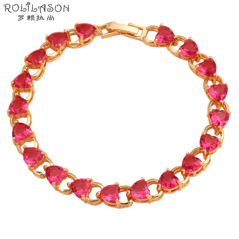 ROLILASON ausgefallene Design Herzform rosarot Kristallzircon goldene Armbänder romantisches Geschenk für Frauen Modeschmuck TBS768