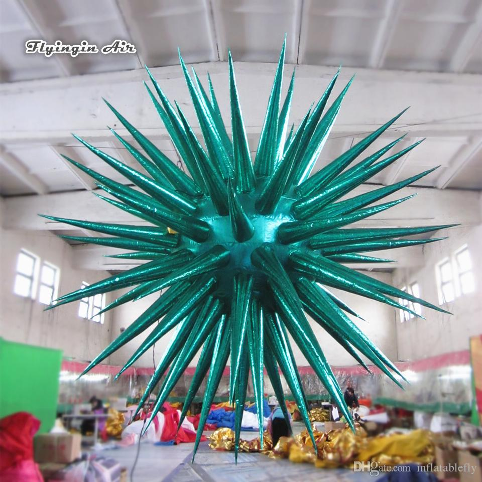 Customized Concert Venue Ceiling Decorative Hanging Inflatable Planet 2m Diameter Lighting Thorn Star Balloon For Night Club Party Supplies