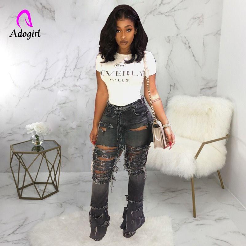 Mode Denim-dünne Hosen-Frauen-Retro- zerrissene Jeans-Hose mit weitem Bein Loch beiläufige Hosen mit Schlaghose weiblich