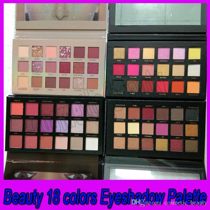 .Eye Trucco 18 colori Tavolozza dell'ombretto con texture oro rosa nudo pressato polvere di polvere ombretto 4 stili per scegliere