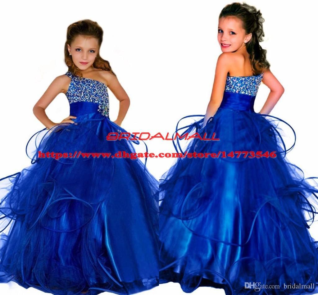 공주 2019 여자를위한 페르시 크리스탈 미인 드레스 드레스 푹신한 긴 아이 공식 생일 파티 드레스 로얄 파란 볼 가운 꽃 소녀 드레스
