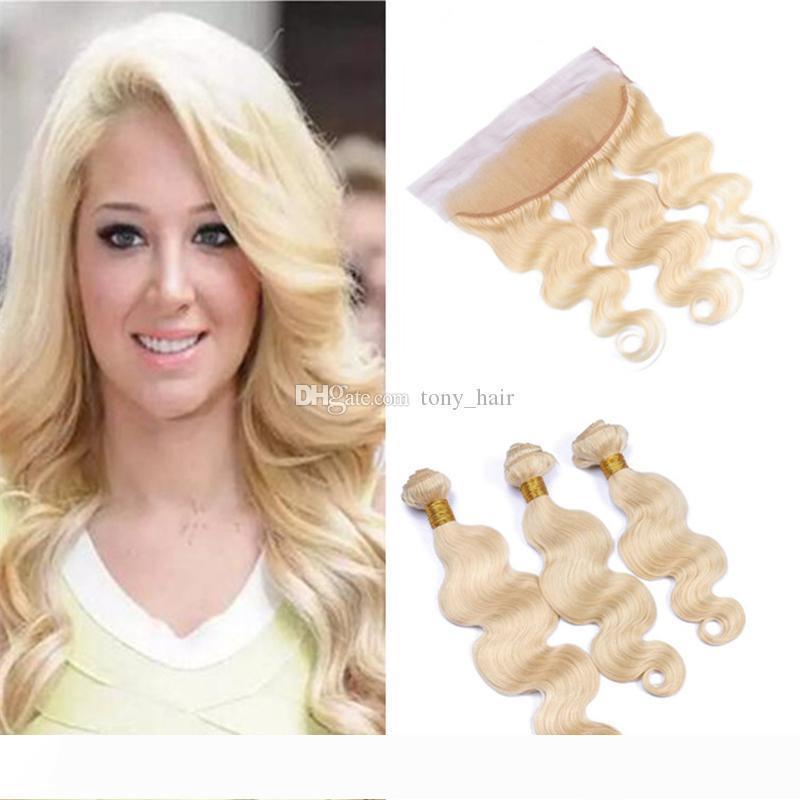 Volle Spitze Frontal mit Blond Menschliches Haar Bundles 613 Blonde Körper-Wellen-peruanisches Jungfrau-Haar Weaves mit 13x4 Spitze Frontal Closure