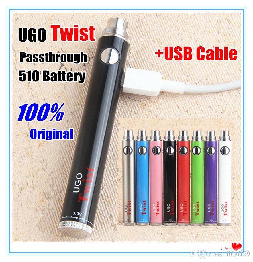MOQ 5Pcs Authentic ecig ugo evod twist vaporizer 510 thread vape battery ego Variable Voltage 3.3~4.8V Vision USB Pass through Batteries