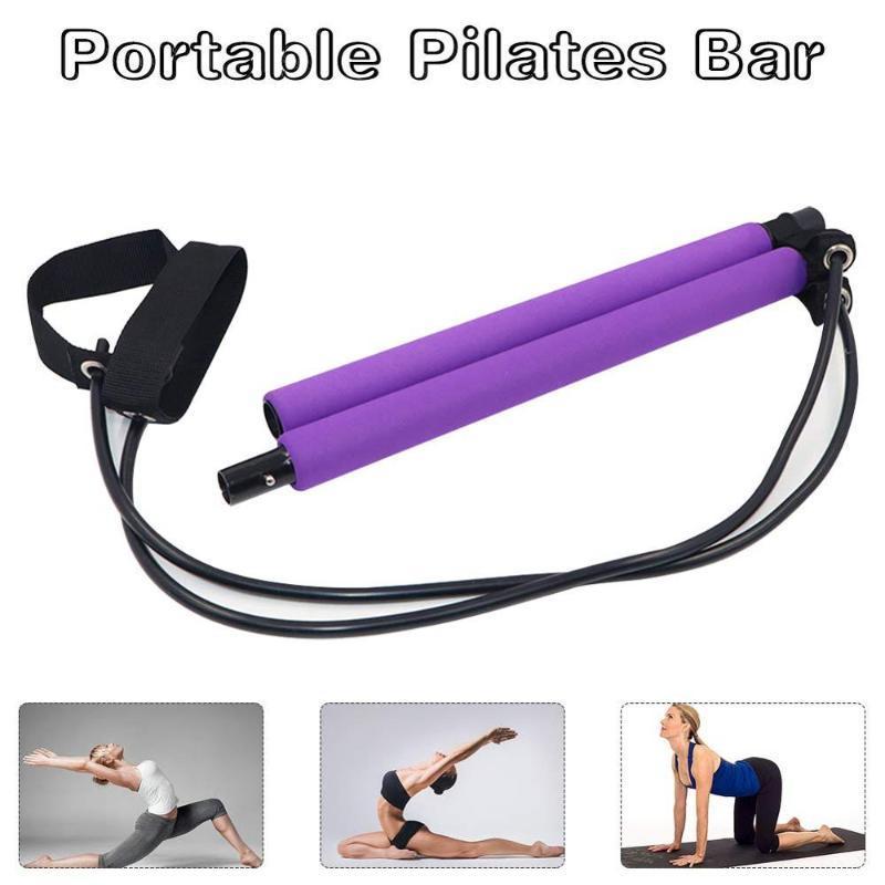 Kit Portable Pilates Bar avec Resistance Band Yoga exercice Home Gym Workout Sit-Up Bar avec pied en boucle extensible