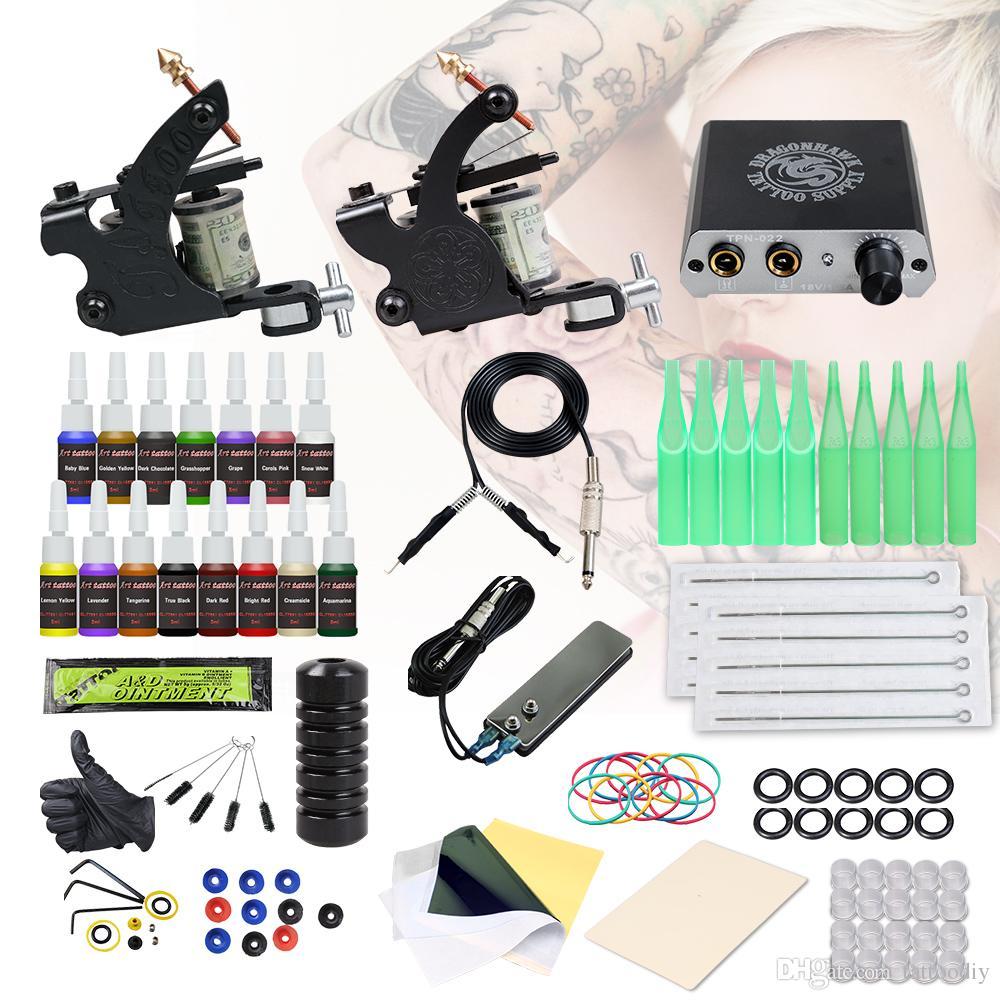 Complete Beginner Tattoo Kit 2 Machines Guns Inks Mini Power Supply Grip Body Tattoo Set D3057