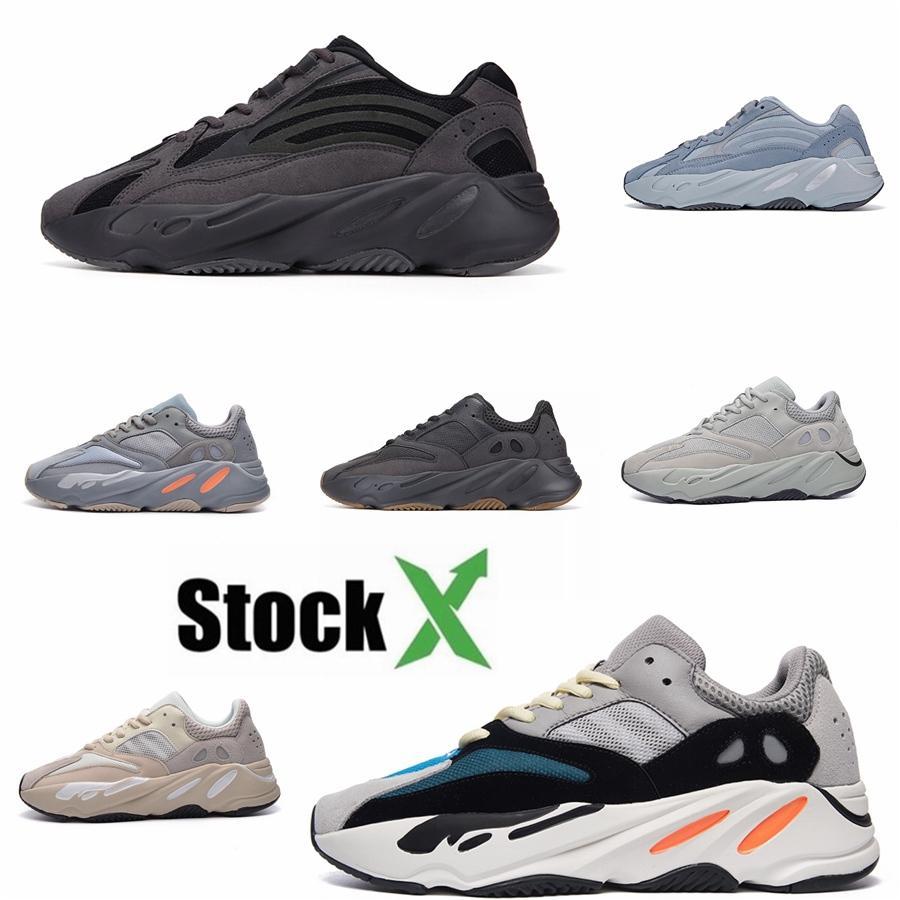 2020 zapatos corrientes del trullo azul Kanye West 700 V2 Hombres Mujeres Vanta Geode gris sólido Hombres Mujeres Wave Runner estático malva Deportes zapatillas de deporte # DSK845