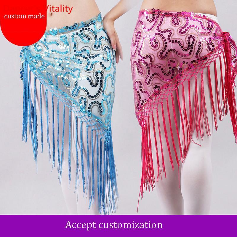 Por encargo nuevo para las mujeres Tribal Danza del vientre Bufanda de cadera con borla y lentejuelas Bailarina Cintura envoltura Falda de danza del vientre