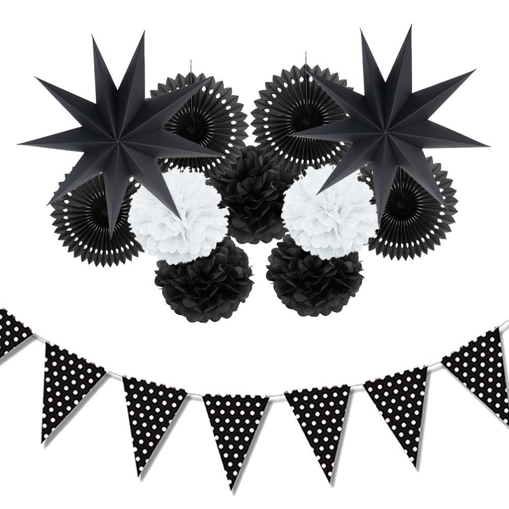 12pc (Black ,White )Paper Decoration Set Party Decor Paper Fans Stars For Birthday Party Wedding Baby Showers Garden Space Decor