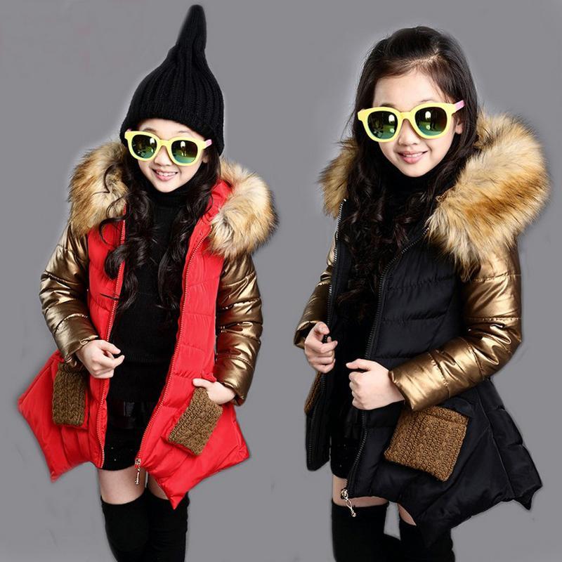 meninas casaco de inverno 4-13 anos jaqueta com capuz Fur colarinho mangas costura ouro das crianças casaco clássico