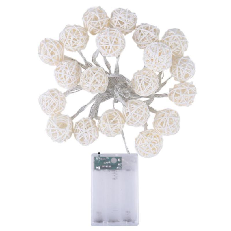 2M 20LED rotin boule Guirlande LED d'éclairage de soirée de mariage Rideau de lumière