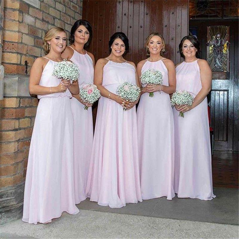 Pink Aline Halter Chiffon Sleeveless Bridesmaid Dresses Maid Of Honor Gowns Custom Made vestidos de fiesta