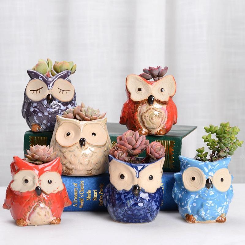 Owl Ceramic Pot Empty Succulent Plant Pot Cactus Flower Pots Cartoon Colorful Succulent Plant for Desktop Garden Home HHA563
