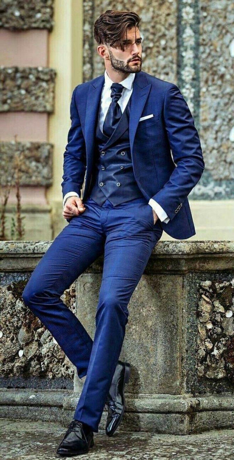 Royal Blue men suits three pieces Mens Prom Tuxedos Suits Pants Jacket Pants Design Slim Fit Tailor Blazer(Jacket+Pants+Vest)