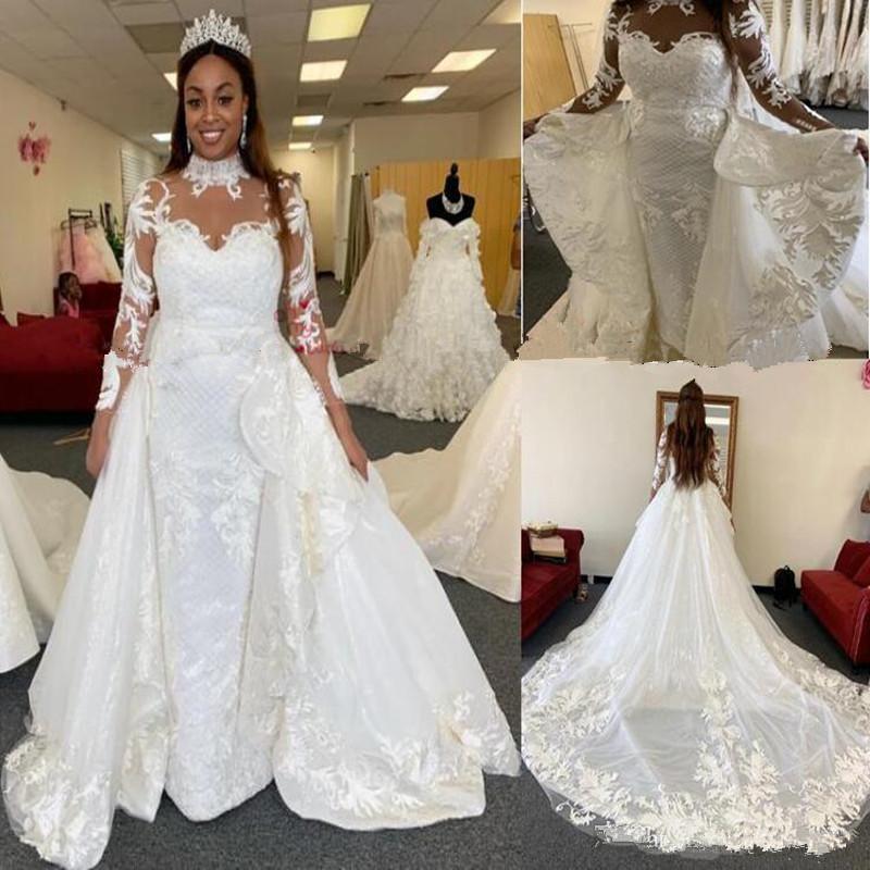 Africano di lusso a Dubai arabo Abiti da sposa alta del collo Detachabled lungo treno abito da sposa in pizzo 3D Appliques Abiti da sposa
