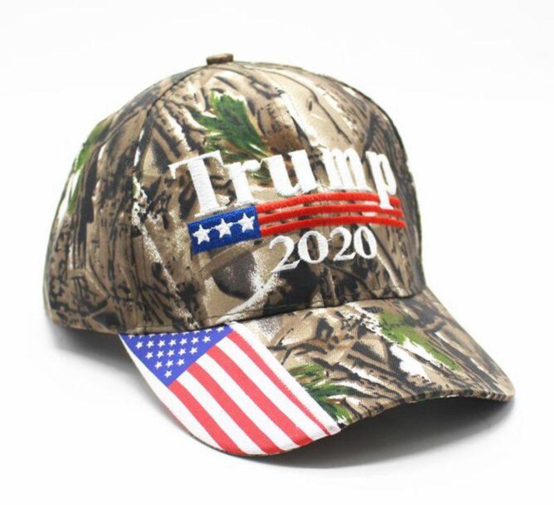Сделайте Америку великой снова вышивка флаг США 2020 Дональд Трамп шляпа переизбрание хлопок бейсболка открытый камуфляж