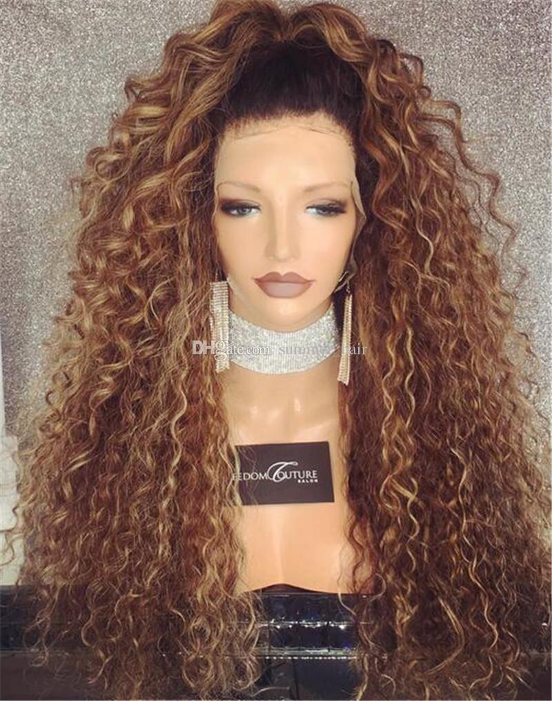 Brazilian Ombre Human Hair Loose Curly Wig 150 Density Blond Ombre Lace Wig 1bT30 Ombre Full Lace Wigs With Dark Roots Blonde Hair