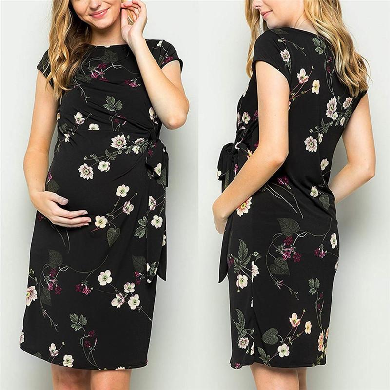 Tasarımcı Hamile Anne hamile elbisesi Casual Çiçek Baskı Mürettebat Yaka Kısa Kollu Elbiseler Casual Kadın Giyim İlkbahar