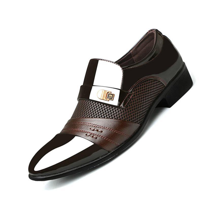 Лето Мужчины платье Обувь Плюс Размер Мужчины Формальные плоские туфли Черный Коричневый дышащий скольжению на мужчин Бизнес офиса Обувь Плюс Размер 38-48