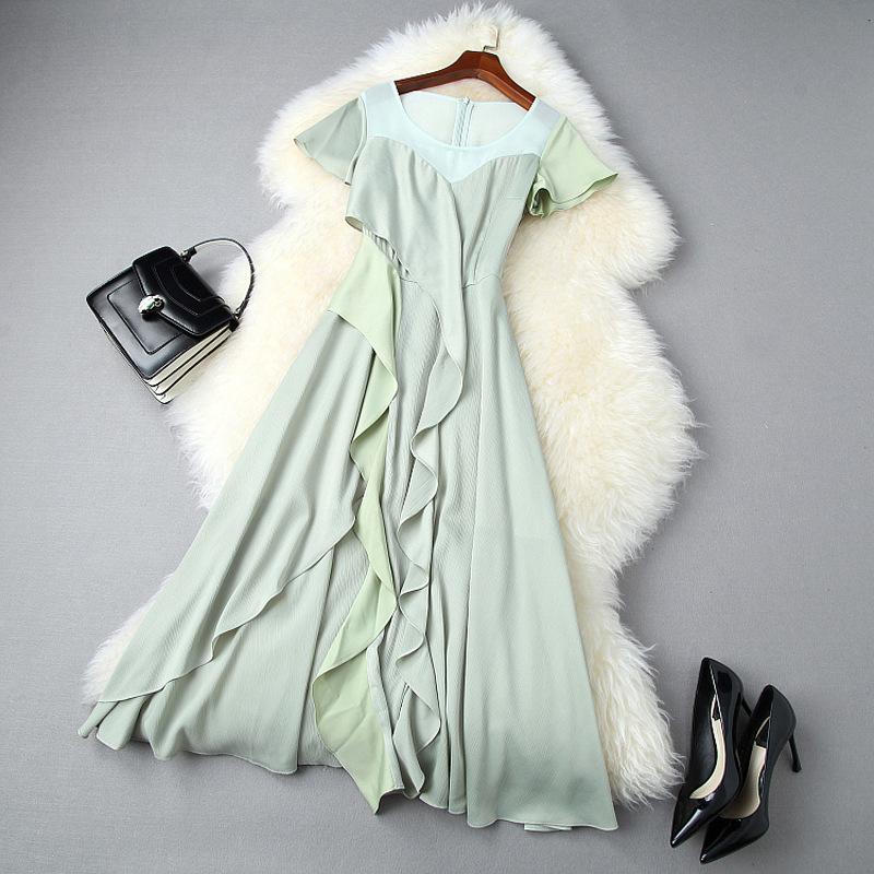 2020 Sommer Kurzarm Rundhals Grün Pure Color Rüschen Panelled Mittler-Kalb-Kleid Elegante beiläufige Kleider LJ18T10969