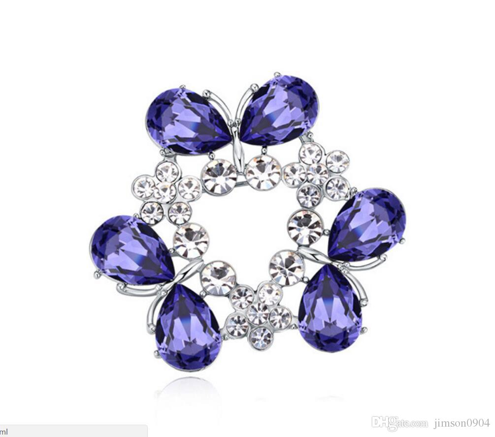 Free shipping fashion jewelry Using Swarovski Elemental Crystal Brooch Viburnum plicatum High-end Ornaments Brooches Pins