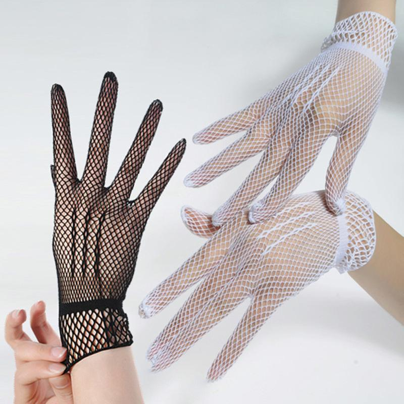 Full Finger Hollow Fishing Net Gloves Women Summer UV-Proof Driving Gloves Mesh Fishnet